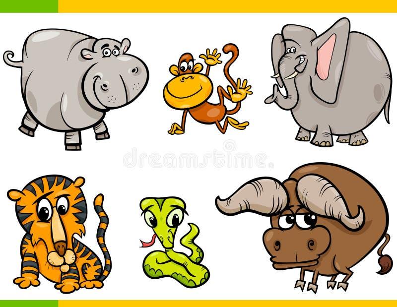 Caráteres engraçados dos animais selvagens dos desenhos animados ajustados ilustração royalty free