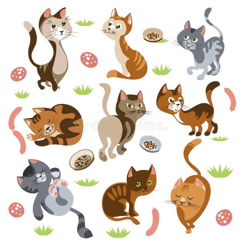 Caráteres engraçados dos gatos ajustados ilustração royalty free