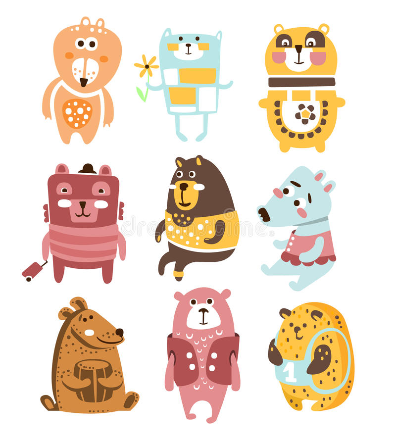 Caráteres estilizados criançolas bonitos de Toy Bear Animals Collection Of na roupa no projeto criativo ilustração royalty free