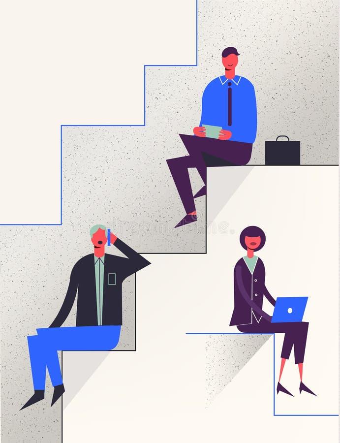 Caráteres estilizados do vetor Ilustração do negócio Conceito das escadas da carreira ilustração royalty free