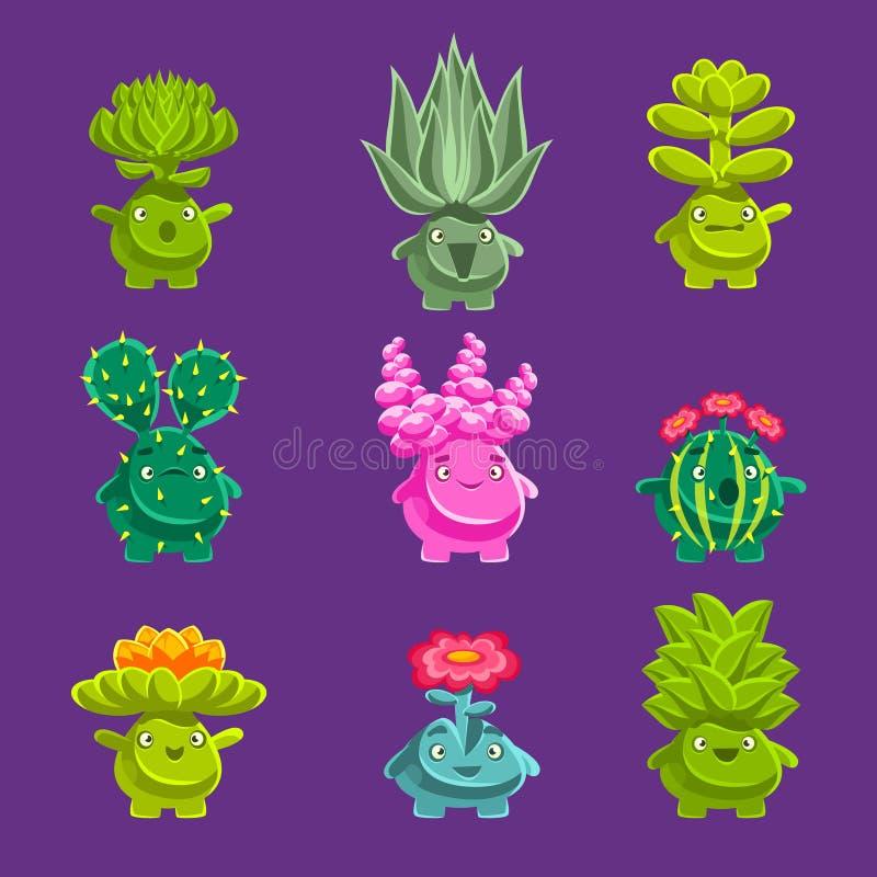 Caráteres fantásticos estrangeiros da planta com vegetação suculento e raiz humanizada com etiquetas amigáveis de Emoji das caras ilustração do vetor