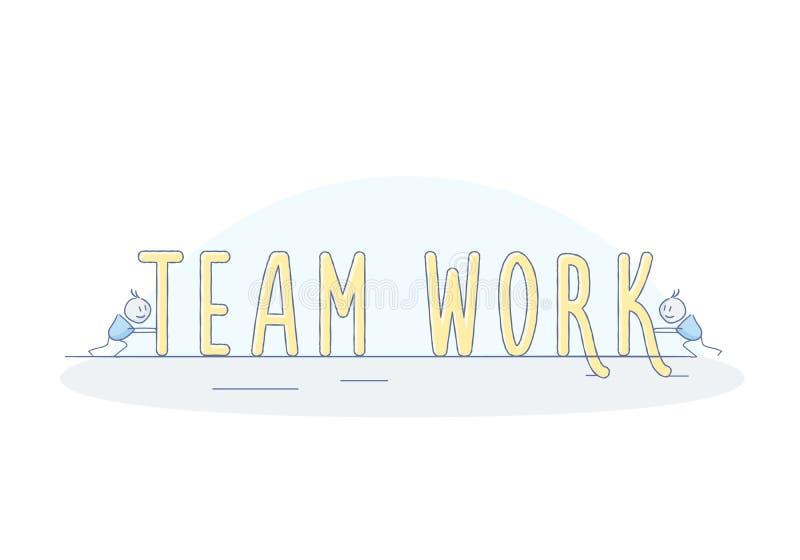 Caráteres felizes pequenos que trabalham em equipe para fazer os trabalhos de equipa da palavra Conceito dos trabalhos de equipa  ilustração stock
