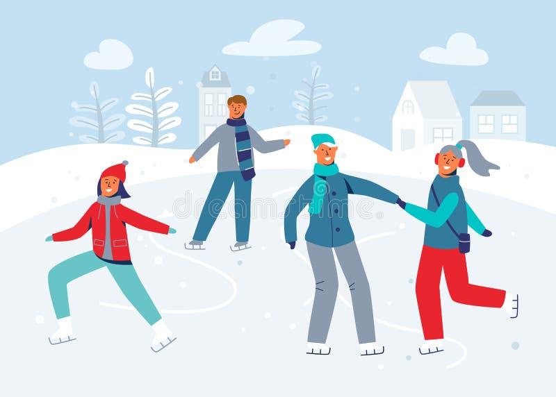Caráteres felizes que patinam na pista de gelo Skateres de gelo dos povos da estação do inverno Homem e mulher alegres na roupa d ilustração stock