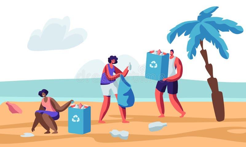 Car?teres humanos multirraciais que pegaram a maca na praia durante a limpeza litoral Os volunt?rios que recolhem o lixo nos saco ilustração royalty free