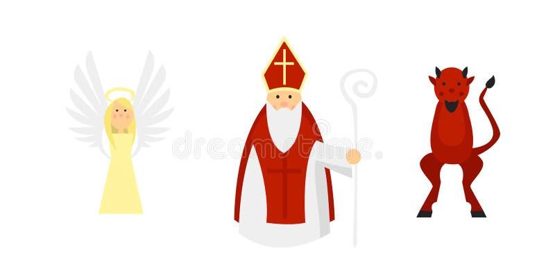 Caráteres isolados de acordo com a tradição europeia: São Nicolau com anjo e diabo ilustração stock
