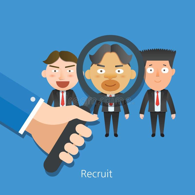 Caráteres lisos do conceito do recruta do corporaçõ de negócio ilustração royalty free