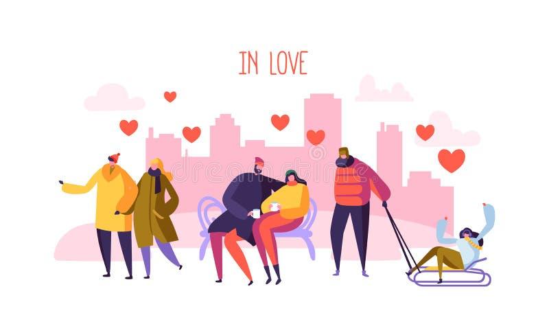 Caráteres masculinos e fêmeas no amor Dia romântico dos pares felizes na cidade Os Valentim cardam com os povos no amor ilustração stock