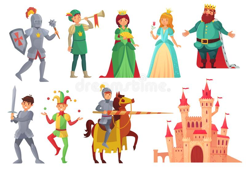Caráteres medievais Cavaleiro real com lança a cavalo, princesa, rei do reino e caráter isolado rainha do vetor ilustração stock