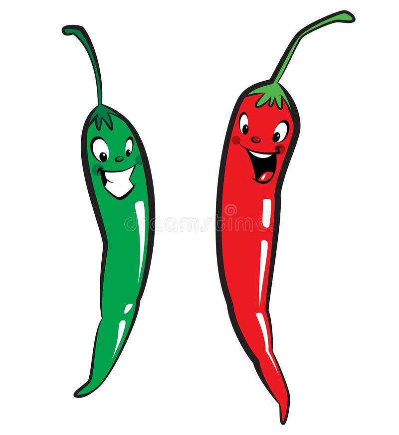 Pimentas vermelhas e verdes do caráter da malagueta picante ilustração royalty free