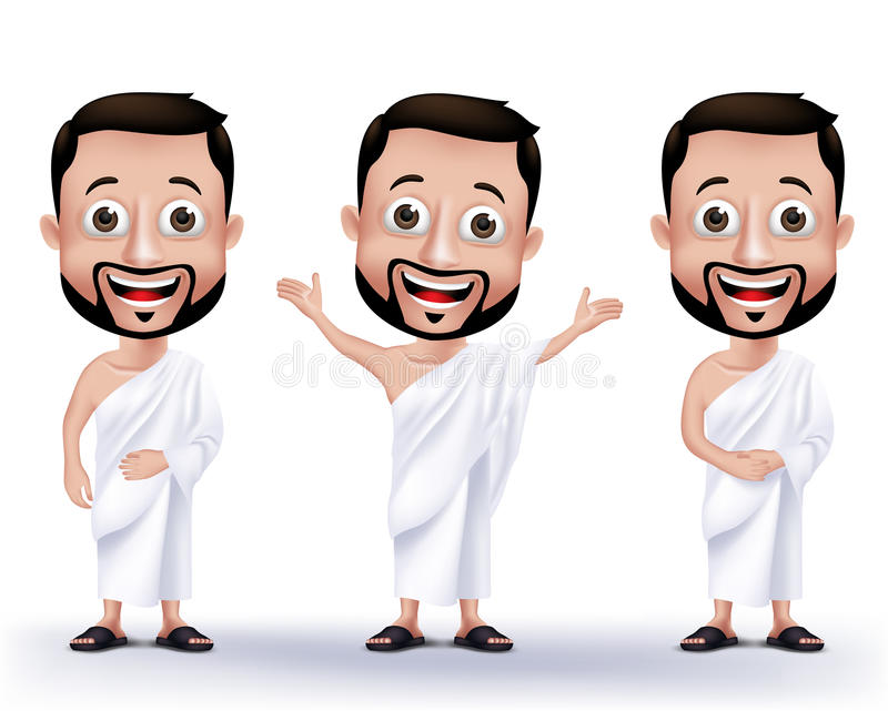 Caráteres muçulmanos do homem que vestem panos de Ihram para executar o Haj ou o Umrah ilustração do vetor
