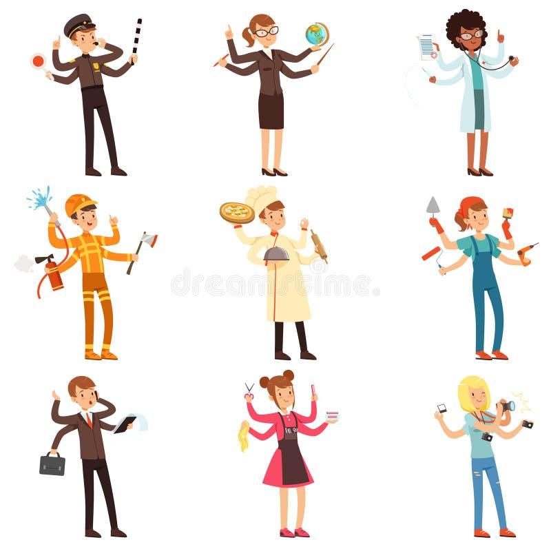 Caráteres a multitarefas lisos dos desenhos animados ajustados Homens e mulheres com muitas mãos Povos de profissões diferentes V ilustração do vetor