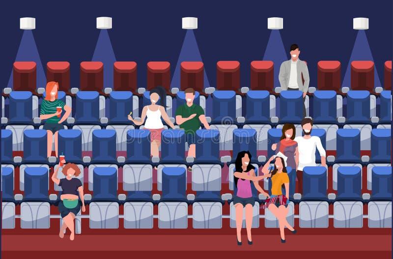 Caráteres ocasionais de observação do filme dos povos que comem o fast food com a soda que senta-se no interior moderno do cinema ilustração do vetor