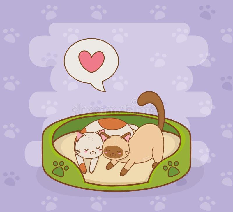 Caráteres pequenos bonitos das mascote dos gatos ilustração do vetor