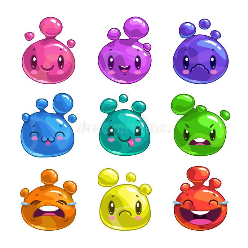 Caráteres pequenos coloridos da bolha dos desenhos animados engraçados ilustração stock