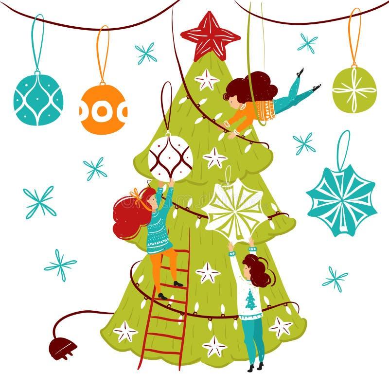 Caráteres pequenos dos povos que decoram a árvore de Natal Decoração do ano novo Pessoas pequenas da fantasia no mundo gigante li ilustração royalty free