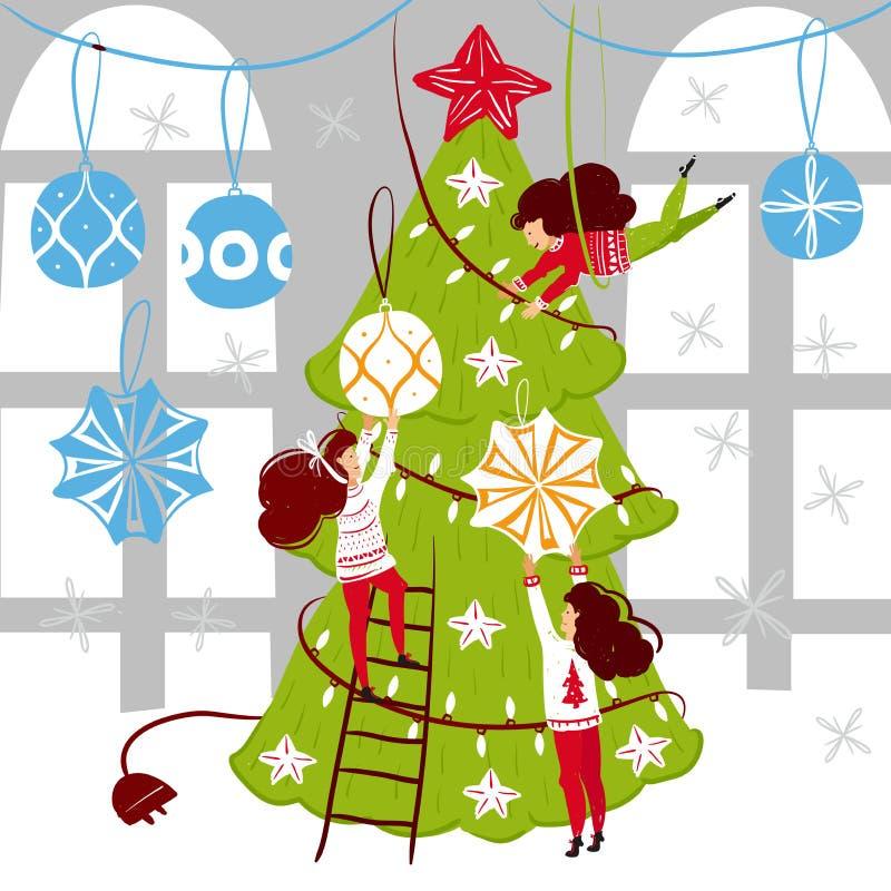 Caráteres pequenos dos povos que decoram a árvore de Natal Decoração do ano novo Pessoas pequenas da fantasia no mundo gigante li ilustração do vetor