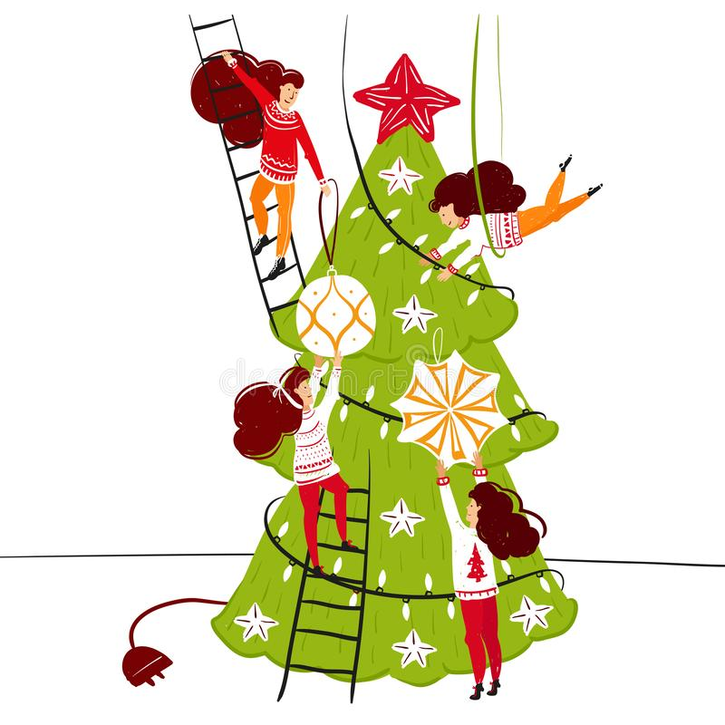 Caráteres pequenos dos povos que decoram a árvore de Natal Decoração do ano novo Pessoas pequenas da fantasia no mundo gigante li ilustração stock