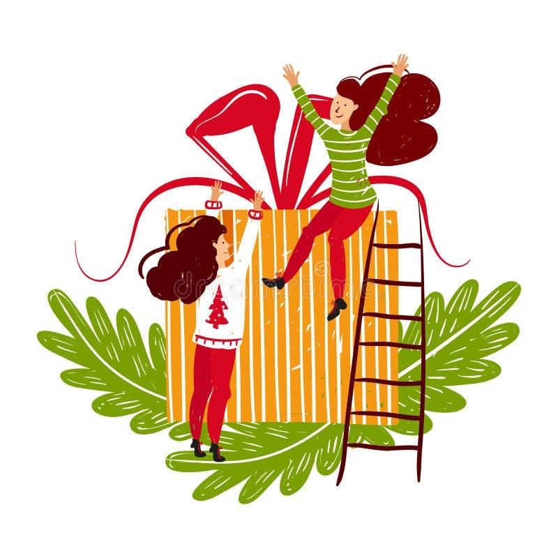 Caráteres pequenos dos povos que envolvem a caixa de Natal Decoração do ano novo Pessoas pequenas da fantasia que trabalham no mu ilustração do vetor