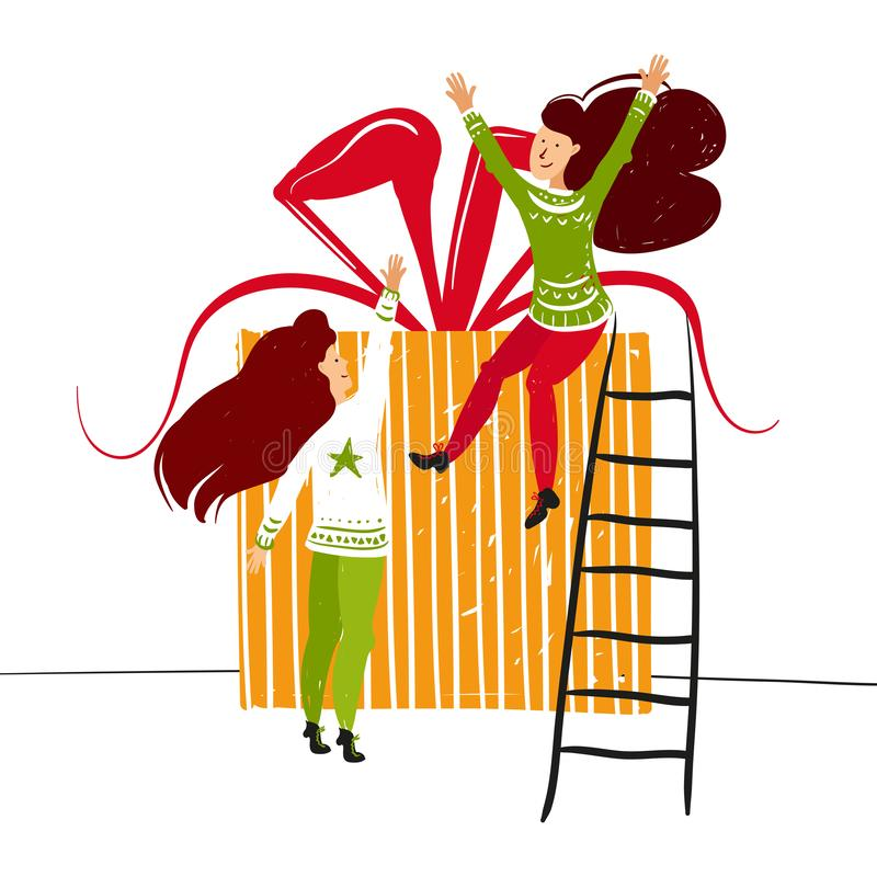 Caráteres pequenos dos povos que envolvem a caixa de Natal Decoração do ano novo Pessoas pequenas da fantasia que trabalham no mu ilustração stock