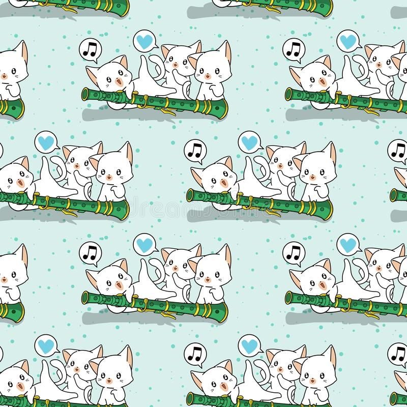Caráteres sem emenda do gato do kawaii com um teste padrão da flauta imagens de stock
