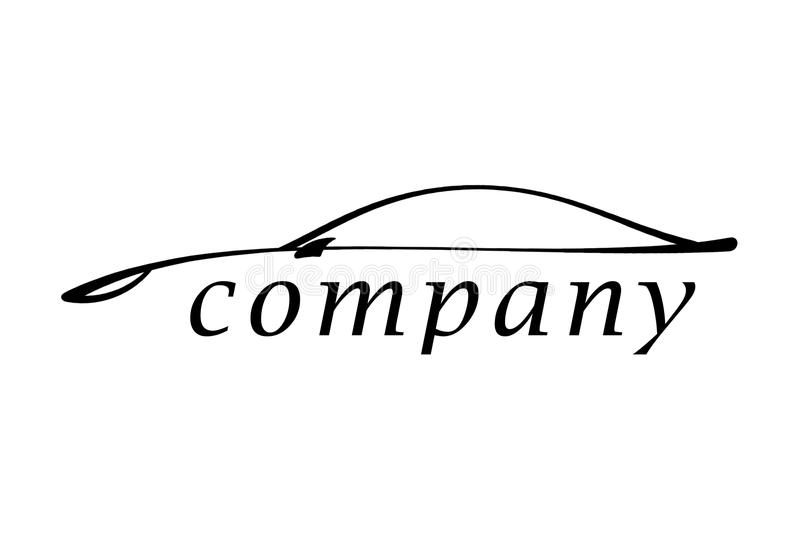 The car. Illustration of a logo of the new car on a white background