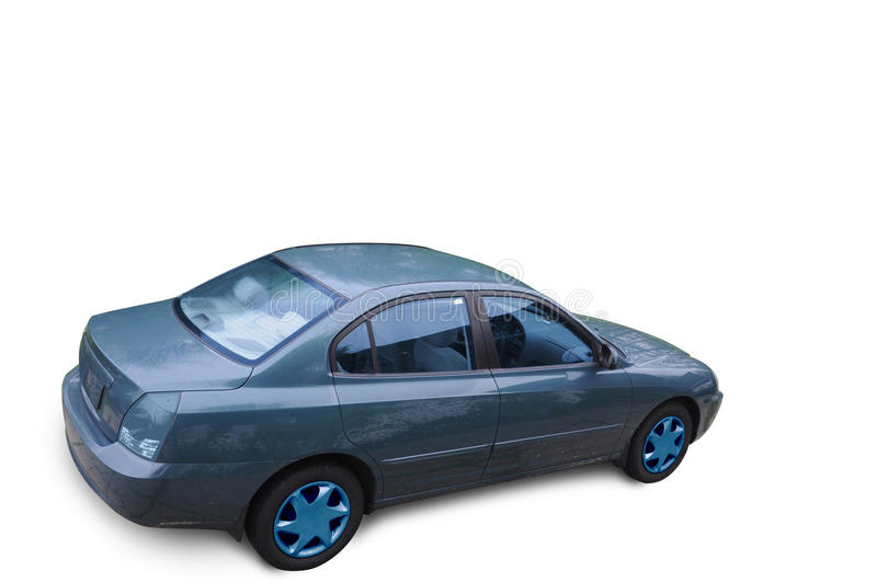 CaR. Isolated blue car with blue tail lights, blue wheels, and blue tinted window royalty free stock photography