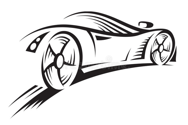 Car. Abstract monochrome illustration of a car