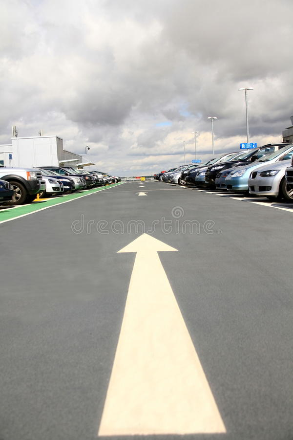 Car 25. Image of a top floor car park at London airport royalty free stock image