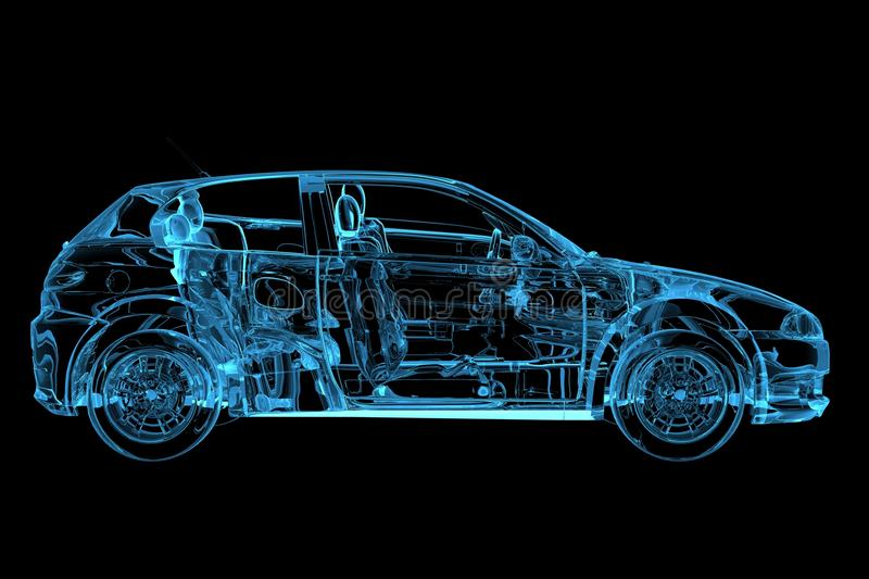 Car 3D rendered xray blue. Transparent royalty free illustration