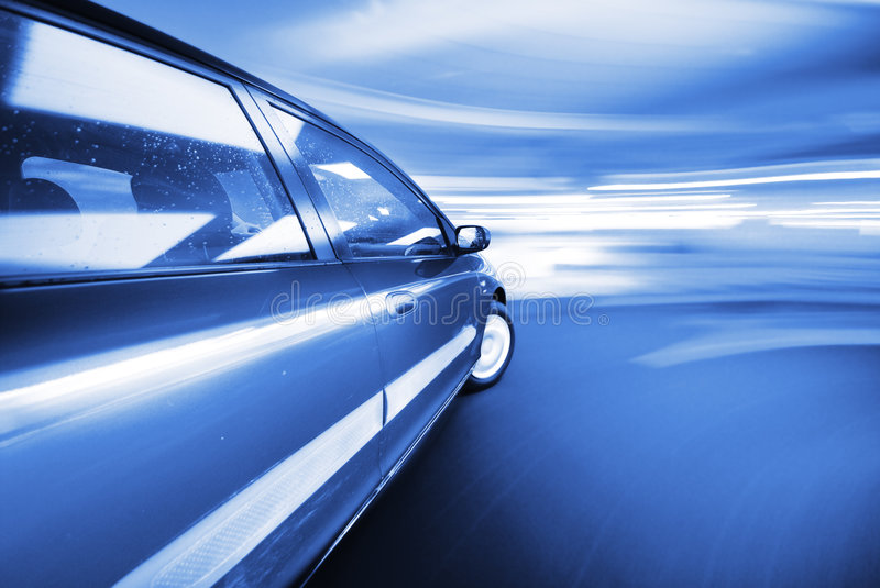 The Car. Moving Car at night in the lights royalty free stock photos