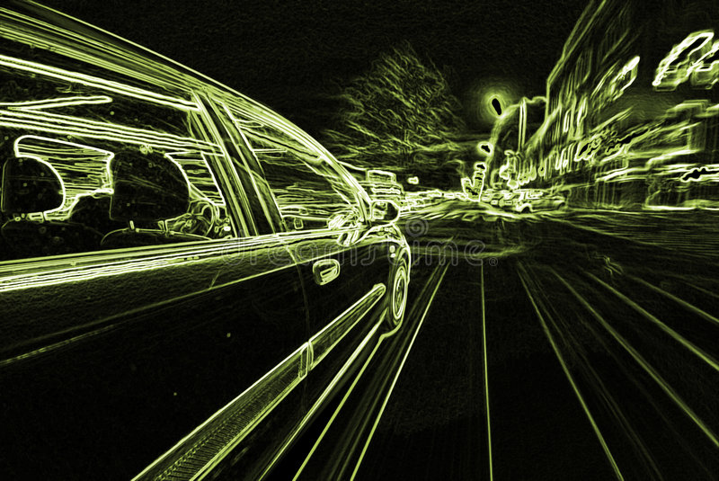The Car. Moving Car at night in the lights stock images