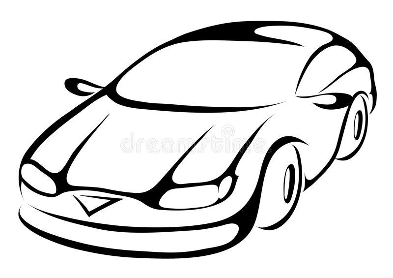 Car. Stylized cartoon icon of a sports car vector illustration