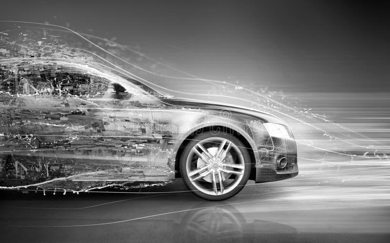 Car abstract concept. Speeding car abstract concept idea vector illustration