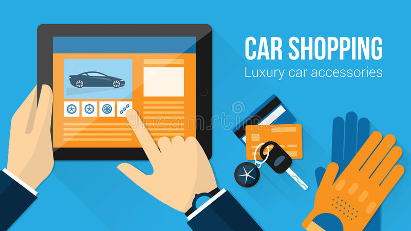 Car accessories shopping stock illustration