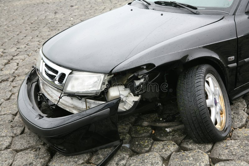 Car accident. On front of black car-pulled out of the water stock image