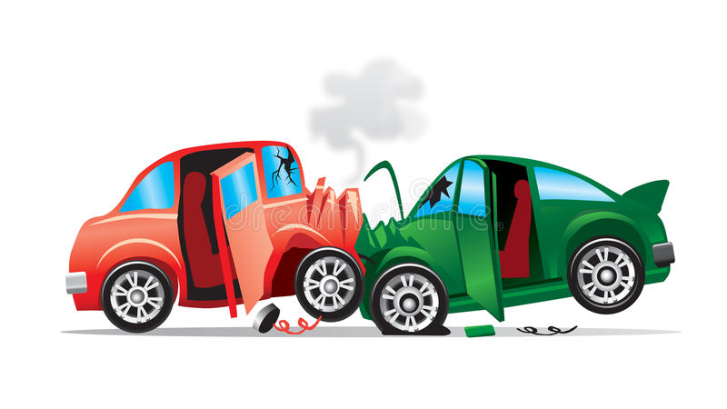 Car Accident. An illustration of an accident of two cars that have crashed into each other, isolated on white background