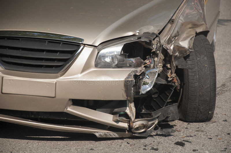 Car accident. Head on car accident on the road stock image