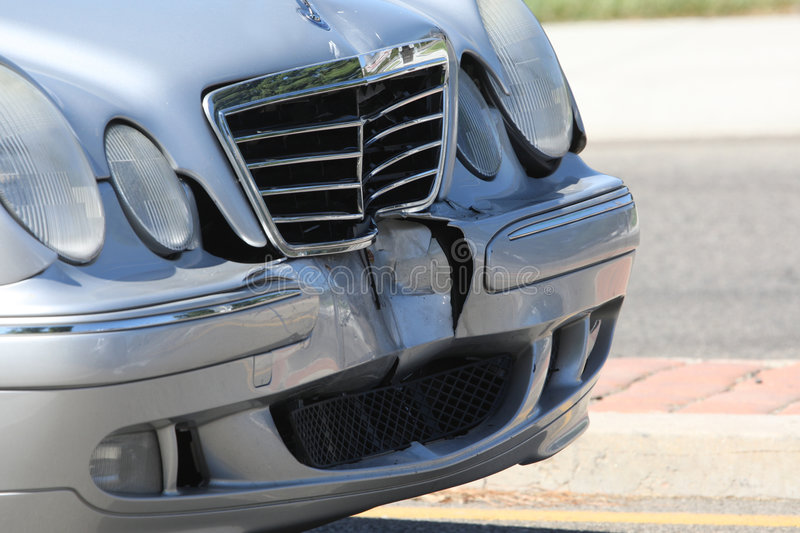 Car Accident. Front end of a vehicle after a car accident royalty free stock photography
