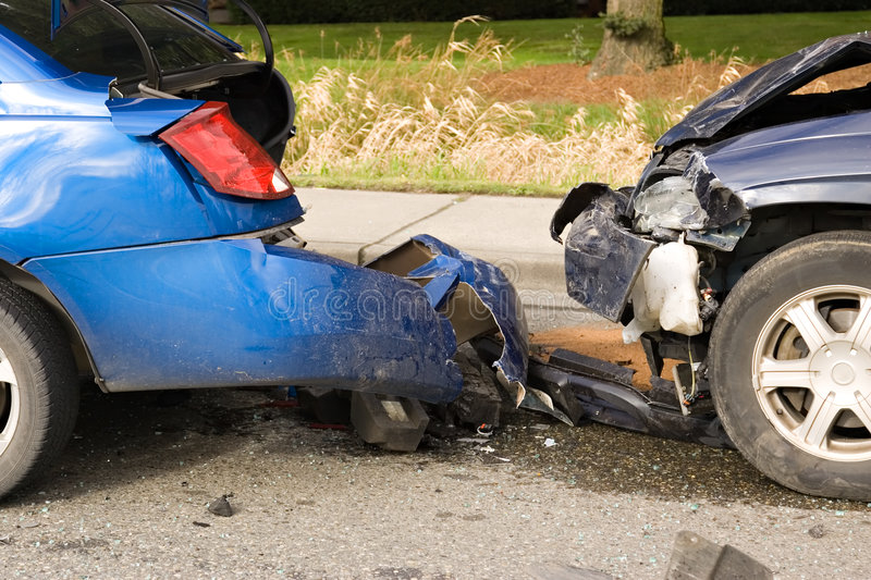 Car accident. Two damaged cars from vehicle accident on highway royalty free stock photography
