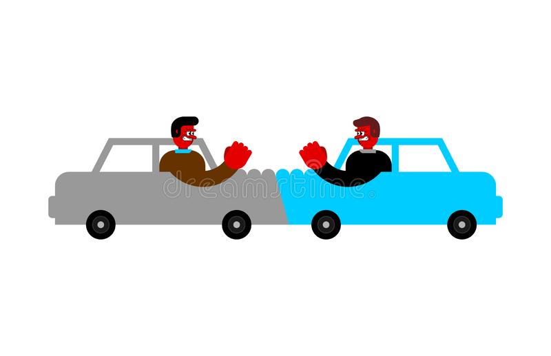 Car accident Angry driver.  Hater. Vector illustration.  vector illustration