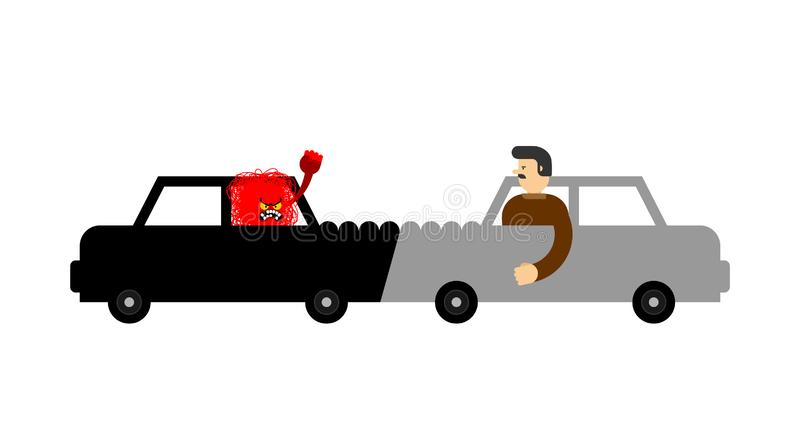 Car accident Angry driver.  Hater. Vector illustration.  stock illustration