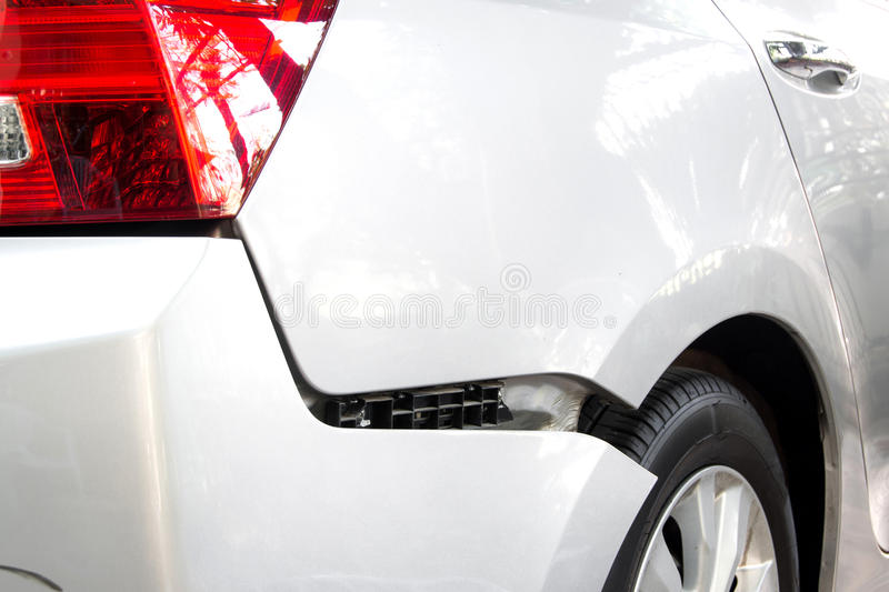 Car accident. Back bumper of the car after a car accident stock image