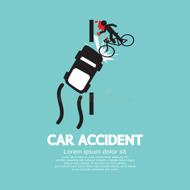 Download Car Accident With Bicycle stock vector. Image of sign - 43188962