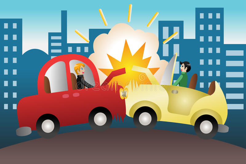 Car accident in the city royalty free illustration