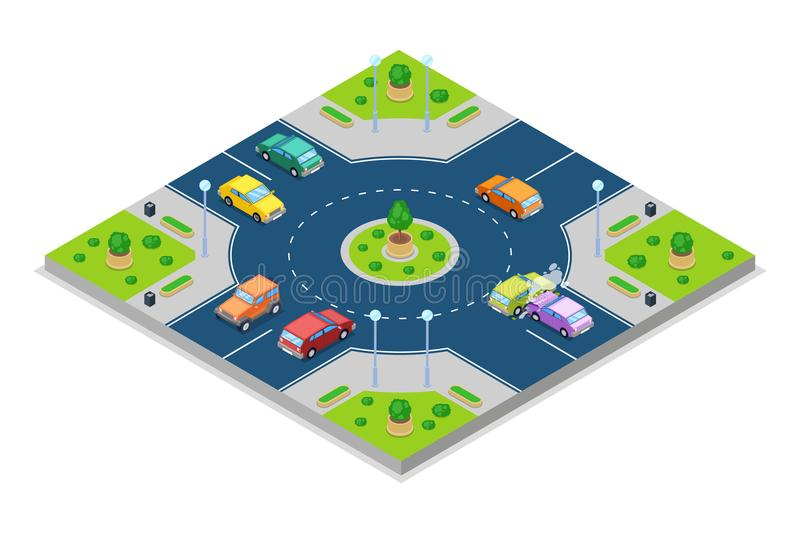 Car accident and crash, vector isometric 3D illustration. Collision at roundabout junction road. stock illustration