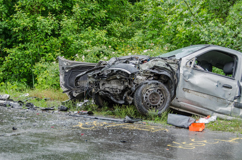 Car accident. Crashed car after the accident stock image