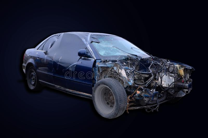 Car after the accident without an engine royalty free stock photography