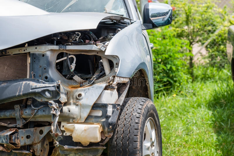 Car accident. Front end of a vehicle after a car accident stock photos