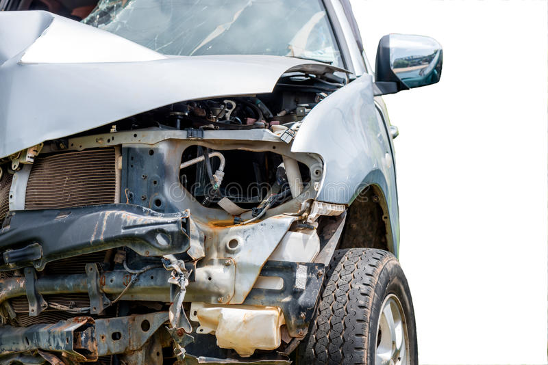 Car accident. Front end of a vehicle after a car accident stock photo