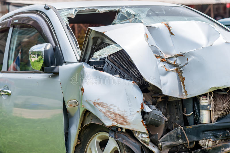 Car accident. Front end of a vehicle after a car accident royalty free stock photo